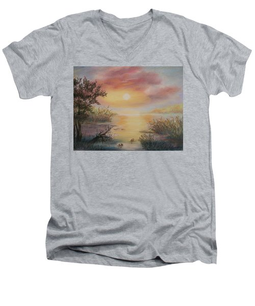 Sunset By The Lake Men's V-Neck T-Shirt