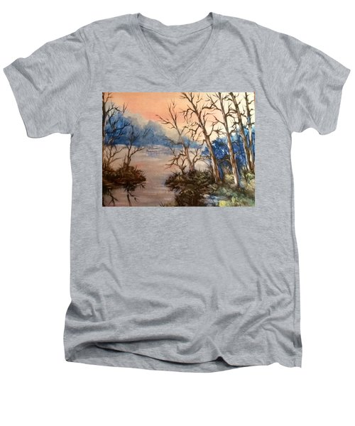 Men's V-Neck T-Shirt featuring the painting Sunset Calm by Megan Walsh