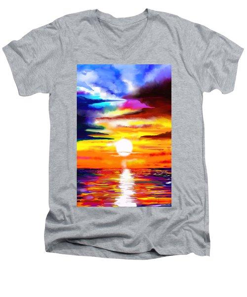 Sunset Explosion Men's V-Neck T-Shirt