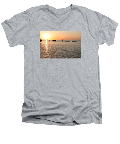 Sunset Fish Men's V-Neck T-Shirt