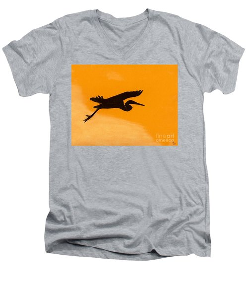 Men's V-Neck T-Shirt featuring the drawing Sunset Flight by D Hackett