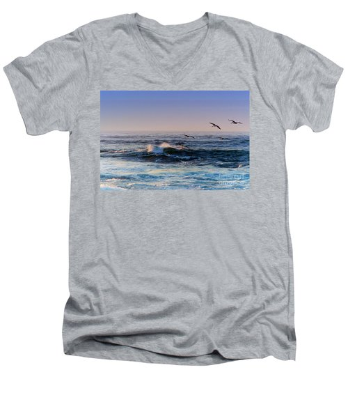 Men's V-Neck T-Shirt featuring the photograph Sunset Fly by Kathy Bassett