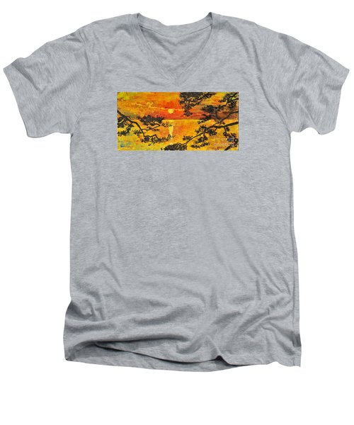 Men's V-Neck T-Shirt featuring the painting Sunset For My Parents by Teresa Wegrzyn