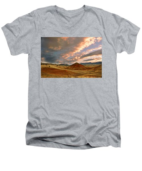 Sunset Hill Men's V-Neck T-Shirt by Sonya Lang