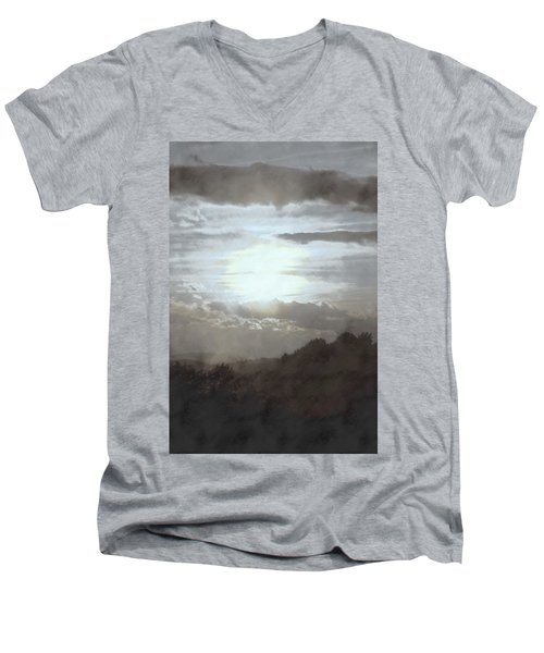 Men's V-Neck T-Shirt featuring the photograph Sunset Impressions Over The Blue Ridge Mountains by Photographic Arts And Design Studio