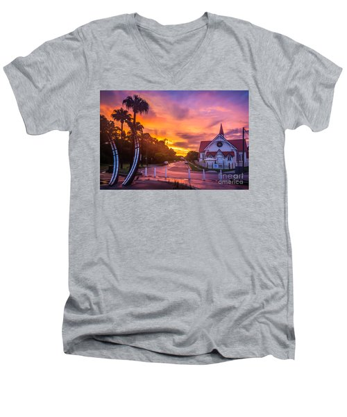 Men's V-Neck T-Shirt featuring the photograph Sunset In Sandgate by Peta Thames