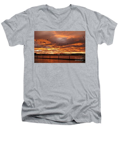 Sunset In Tauranga New Zealand Men's V-Neck T-Shirt
