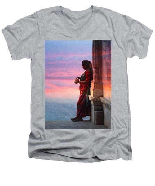 Sunset Lake Colorful Woman Rajasthani Udaipur India Men's V-Neck T-Shirt