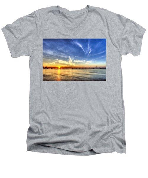 Sunset Mackinac Bridge Men's V-Neck T-Shirt