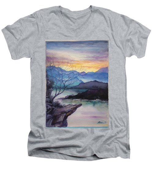 Sunset Montains Men's V-Neck T-Shirt