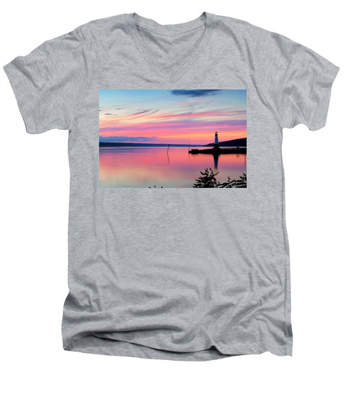 Sunset On Cayuga Lake Ithaca New York Men's V-Neck T-Shirt