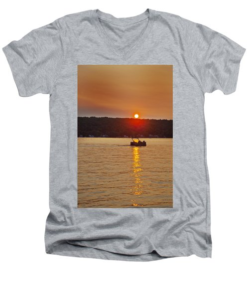 Boating Into The Sunset Men's V-Neck T-Shirt by Richard Engelbrecht