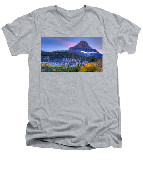 Sunset On Reynolds Mountain Men's V-Neck T-Shirt