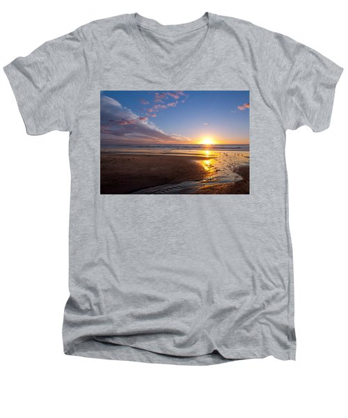 Sunset On The Beach At Carlsbad. Men's V-Neck T-Shirt