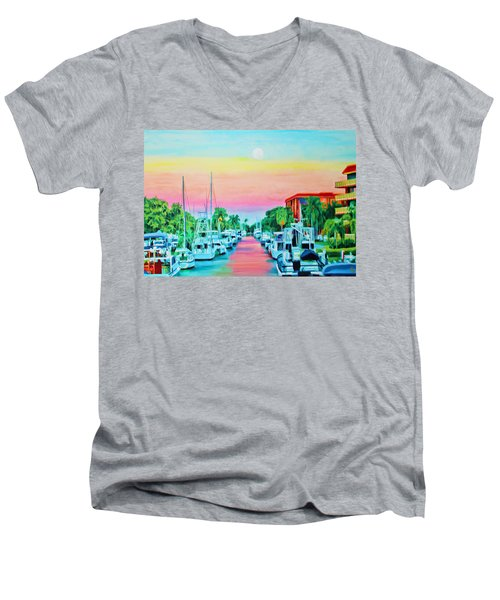 Sunset On The Canal Men's V-Neck T-Shirt