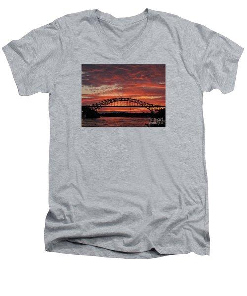 Sunset On The Piscataqua         Men's V-Neck T-Shirt by Marcia Lee Jones