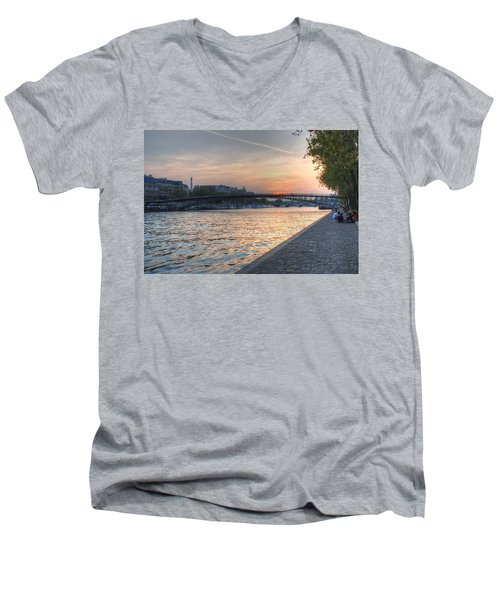 Sunset On The Seine Men's V-Neck T-Shirt