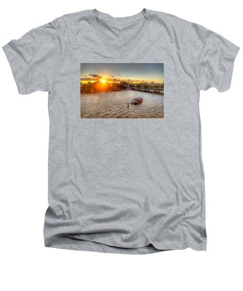 Sunset On The Thames Men's V-Neck T-Shirt by Tim Stanley