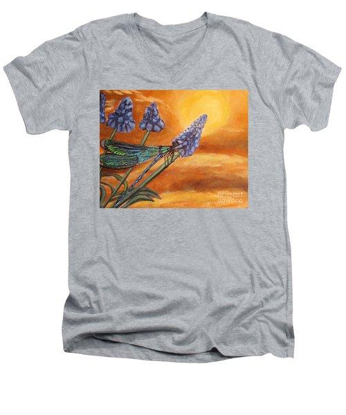 Summer Sunset Over A Dragonfly Men's V-Neck T-Shirt