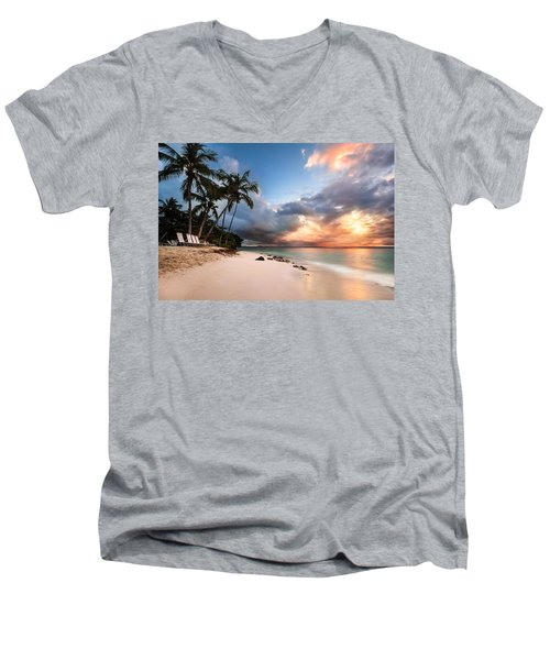 Men's V-Neck T-Shirt featuring the photograph Sunset Over Bacardi Island by Mihai Andritoiu