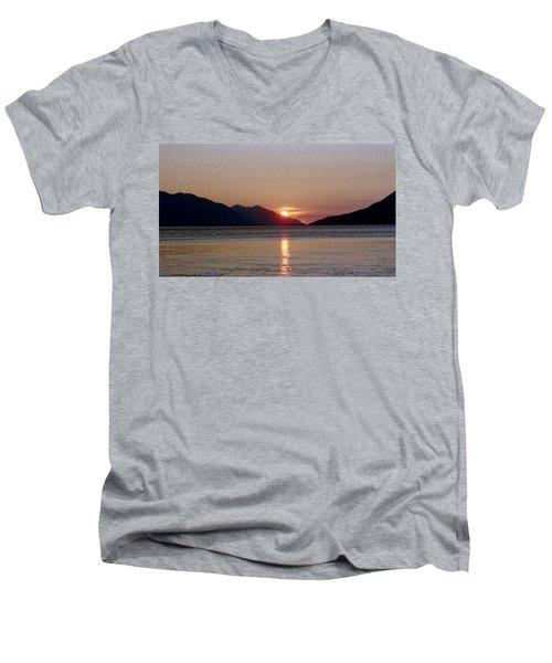 Sunset Over Cook Inlet Alaska Men's V-Neck T-Shirt by Denyse Duhaime