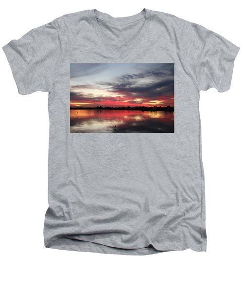 Sunset Over Mission Bay  Men's V-Neck T-Shirt