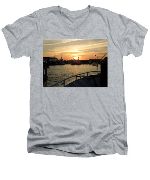 Men's V-Neck T-Shirt featuring the photograph Sunset Over The Marina by Ron Davidson