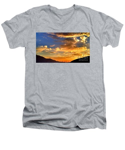 Men's V-Neck T-Shirt featuring the photograph Sunset Over The Pass by Chris Tarpening