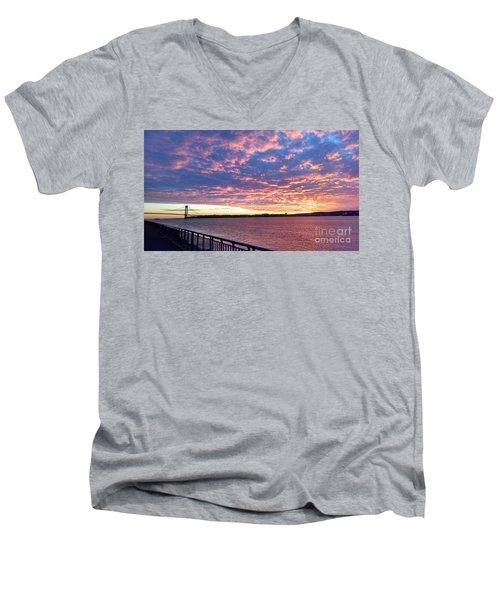 Sunset Over Verrazano Bridge And Narrows Waterway Men's V-Neck T-Shirt by John Telfer
