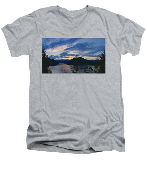 Sunset Pano - Watauga Lake Men's V-Neck T-Shirt
