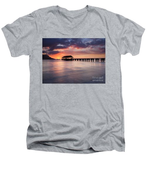 Sunset Pier Men's V-Neck T-Shirt by Mike  Dawson