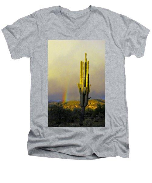 Men's V-Neck T-Shirt featuring the photograph Sunset Rainbow Cactus by John Haldane