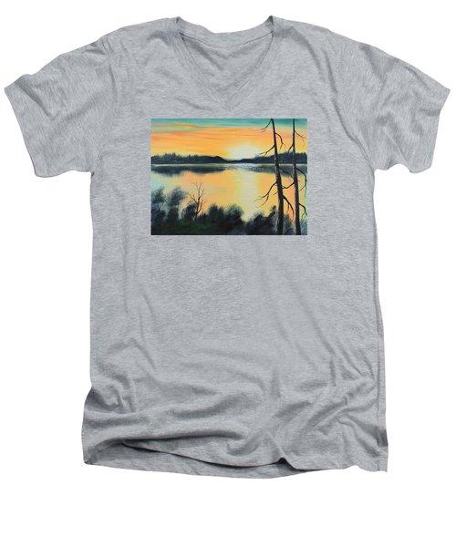 Sunset Men's V-Neck T-Shirt by Remegio Onia
