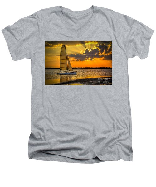 Sunset Sail Men's V-Neck T-Shirt by Marvin Spates