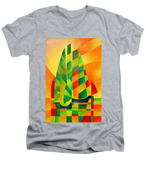 Men's V-Neck T-Shirt featuring the painting Sunset Sails And Shadows by Tracey Harrington-Simpson