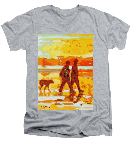 Men's V-Neck T-Shirt featuring the painting Sunset Silhouette Carmel Beach With Dog by Thomas Bertram POOLE
