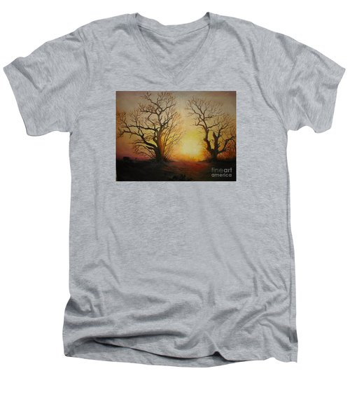 Men's V-Neck T-Shirt featuring the painting Sunset by Sorin Apostolescu