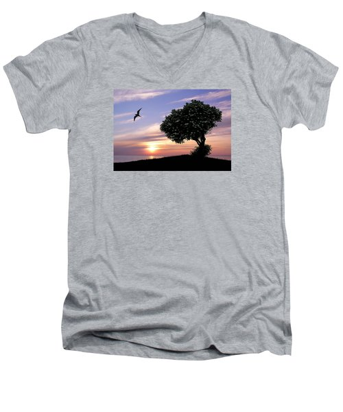 Sunset Tree Of Tranquility Men's V-Neck T-Shirt