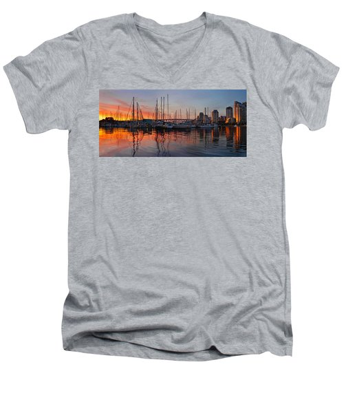 Men's V-Neck T-Shirt featuring the photograph Sunset View From Charleson Park In Vancouver Bc by JPLDesigns