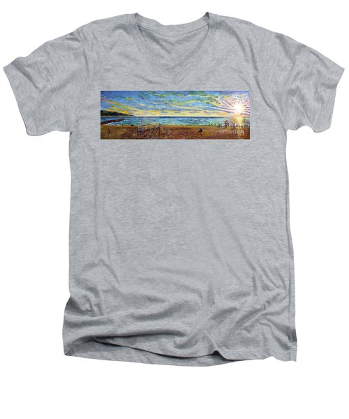 Sunset Volleyball At Old Silver Beach Men's V-Neck T-Shirt by Rita Brown