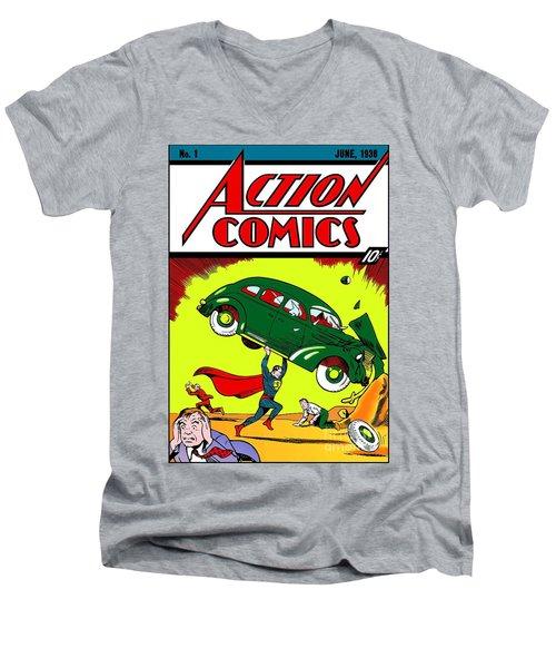 Superman Comic Book -1938 Men's V-Neck T-Shirt by Doc Braham