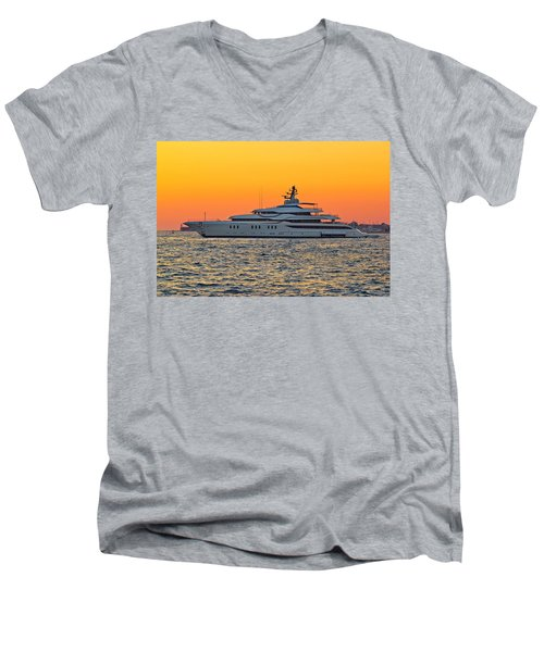 Superyacht On Yellow Sunset View Men's V-Neck T-Shirt