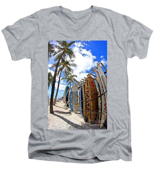 Surf And Sun Waikiki Men's V-Neck T-Shirt