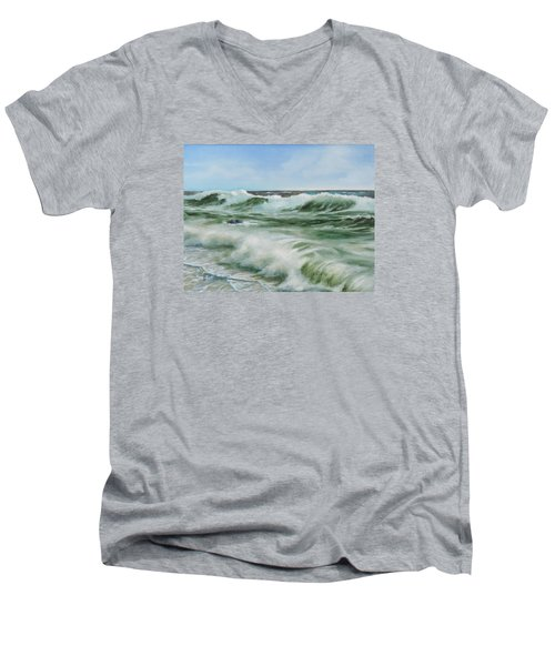 Men's V-Neck T-Shirt featuring the painting Surf At Castlerock by Barry Williamson