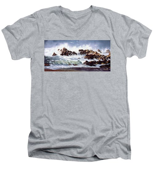 Surf At Lincoln City Men's V-Neck T-Shirt by Craig T Burgwardt