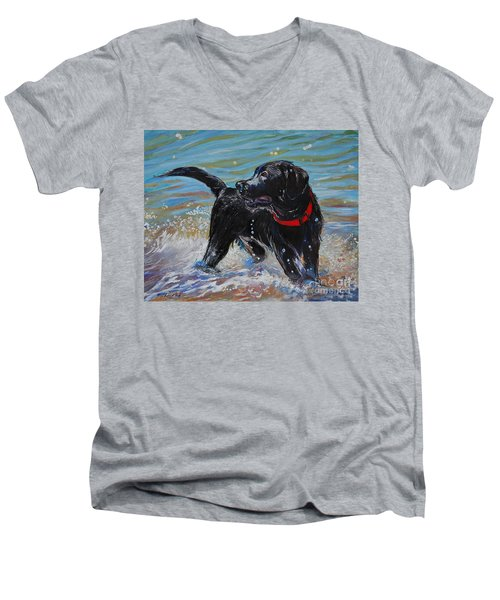 Surf Pup Men's V-Neck T-Shirt by Molly Poole