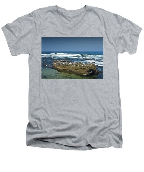 Surf Waves At La Jolla California With Gulls Perched On A Large Rock No. 0194 Men's V-Neck T-Shirt