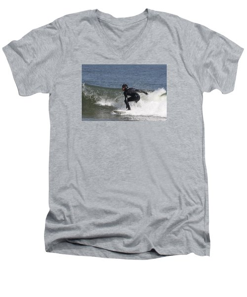 Men's V-Neck T-Shirt featuring the photograph Surfer Hitting The Curl by John Telfer