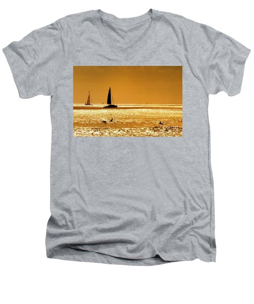 Men's V-Neck T-Shirt featuring the photograph Surfers And Sailboats by Kristine Merc