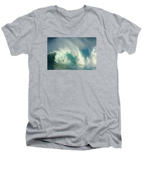 Surfing Jaws 3 Men's V-Neck T-Shirt by Bob Christopher